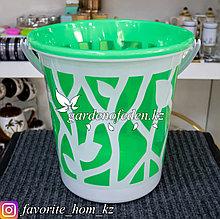 Ведро хозяйственное с декором. Материал: Пластик. Цвет: Зеленый/Белый.