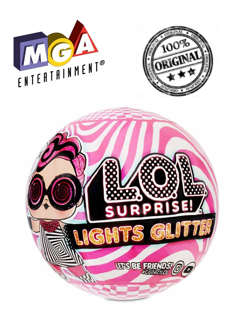 LOL Surprise - Светящаяся Кукла ЛОЛ Сюрприз в шарике, Неон Блестящая Lights Glitter (Оригинал)
