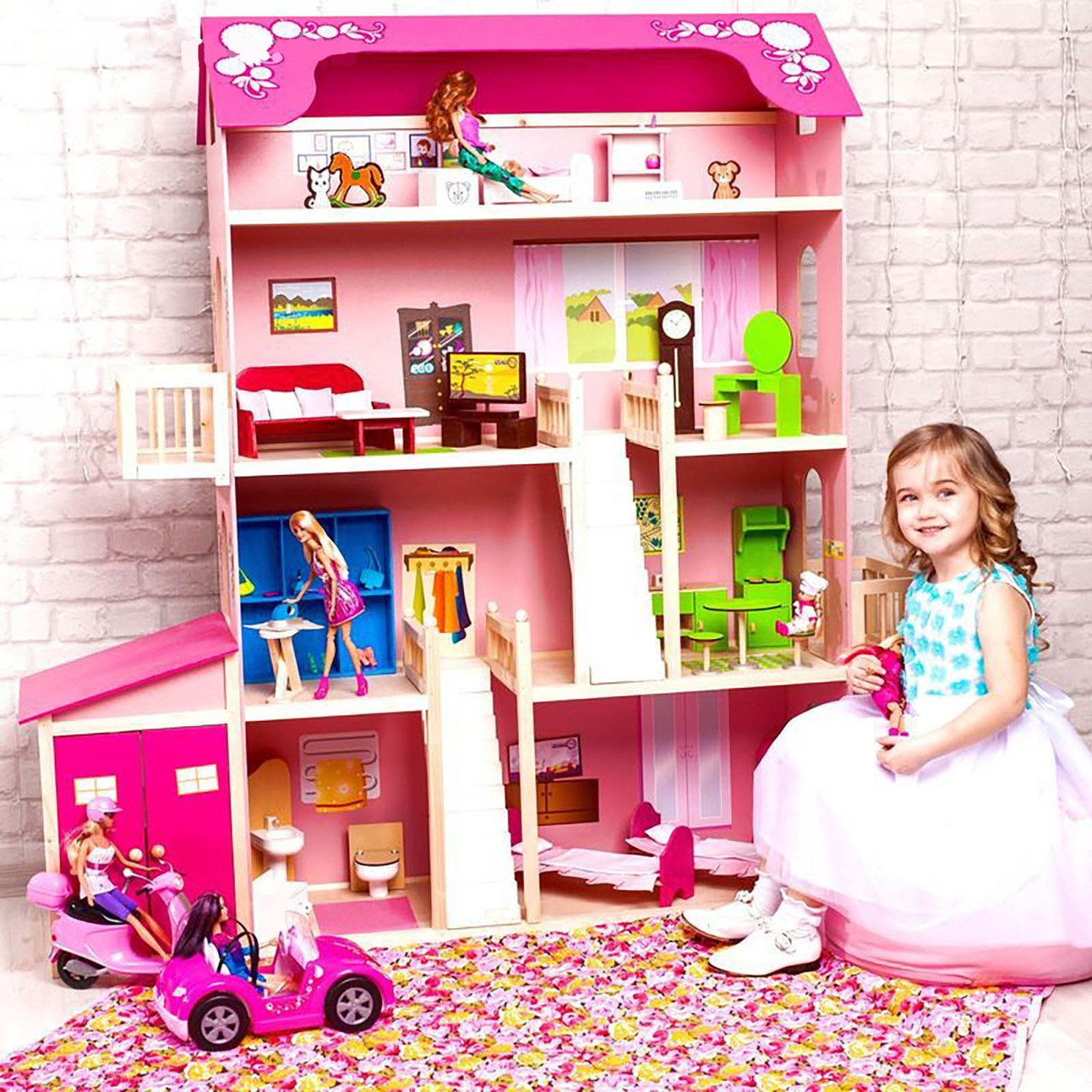 """Игровой набор """"Деревянный дом для кукол"""" - Нежность, 28 предметов"""