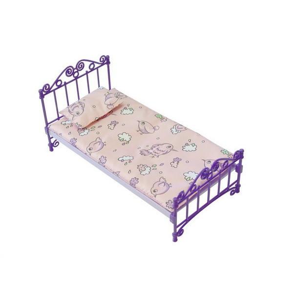 Огонёк Кукольная кровать с постельным бельем