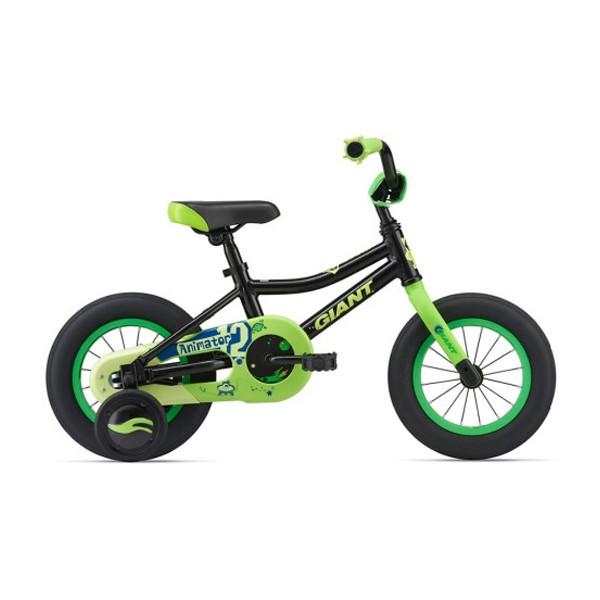 Детский велосипед Giant Animator 12 - чёрно-зелёный