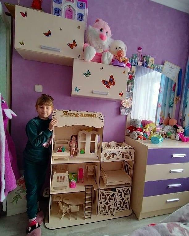 Кукольный эко домик для кукол Барби (в комплекте мебель)