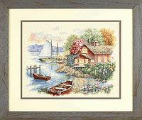 35230 Набор для вышивки крестом «Спокойный дом у озера», фото 1