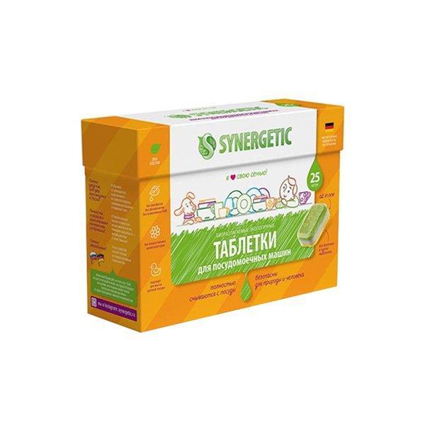 Бесфосфатные таблетки для посудомоечных машин SYNERGETIC 25шт