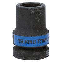 """Головка торцевая глубокая ударная четырёхгранная 1"""", 19 мм. футорочная KING TONY 853419M"""