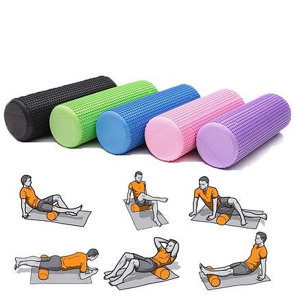 Массажный валик (ролик) для фитнеса и йоги 30 см (цвет желтый), фото 2