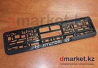 Рамка для номера, пластик, черная, на защелках, Hyundai, фото 1