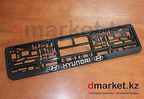 Рамка для номера, пластик, черная, на защелках, Hyundai