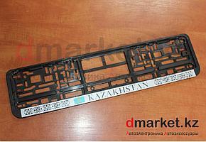 Рамка для номера, пластик, черная, на защелках, Kazakhstan