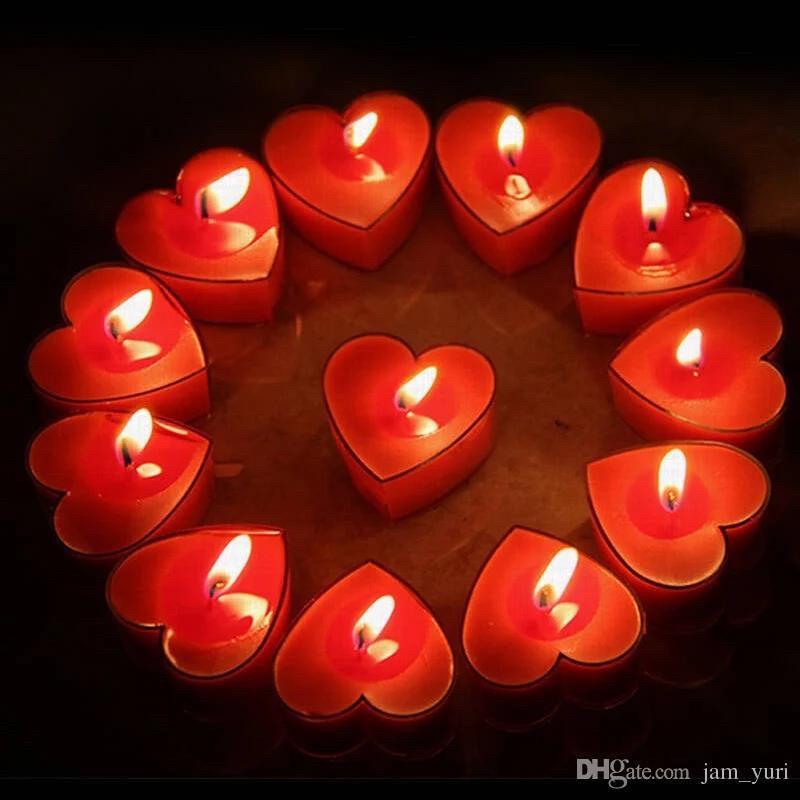 Свечки для ванны 50 шт., в форме сердца, Романтический вечер - фото 2