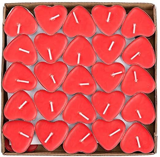 Свечки для ванны 50 шт., в форме сердца, Романтический вечер - фото 1