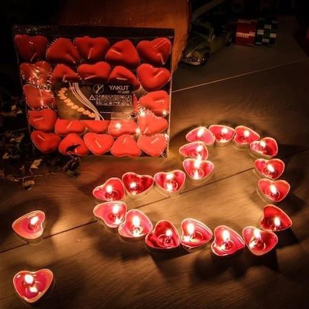Свечки для ванны 50 шт., в форме сердца, Романтический вечер - фото 6