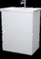 Тумба с раковиной Aris 60 см. напольная (2 ящика). Белый глянец, фото 3