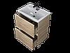 Тумба с раковиной Aris 60 см. напольная (2 ящика). Белый глянец, фото 5