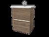 Тумба с раковиной Aris 60 см. напольная (2 ящика). Белый глянец, фото 6