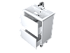 Тумба с раковиной Aris 60 см. подвесная (2 ящика). Белый глянец, фото 3