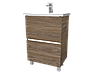 Тумба с раковиной Aris 70 см. напольная (2 ящика). Дуб Сонома, фото 3