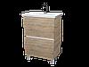 Тумба с раковиной Aris 70 см. напольная (2 ящика). Белый глянец, фото 2