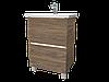 Тумба с раковиной Aris 70 см. напольная (2 ящика). Белый глянец, фото 3