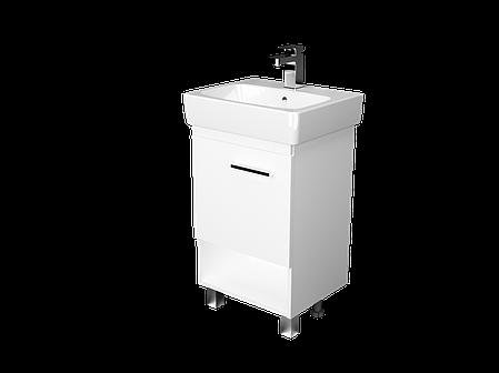 Тумба с раковиной Tera 55 см. напольная (1 дверка). Белый глянец, фото 2