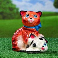 Садовая фигура 'Коты с бантом', бело-рыжая, 25 см