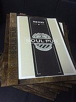 Меню на деревянной подложке с логотипом, фото 1