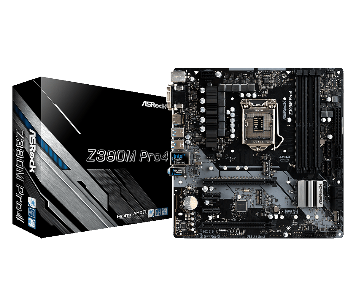S-1151 ASRock Z390M PRO4 LGA-1151 Supports 9th and 8th Gen Intel® Core™ Processors (Socket 1151)