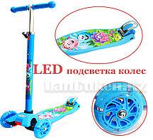 Детский самокат Смешарики с LED подсветкой колес (четырехколесный)
