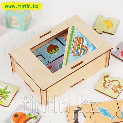Пазл-набор «Кто что ест и где живет» (тройной в деревянной коробке), фото 2