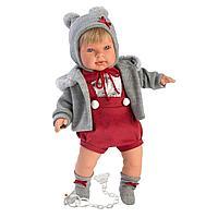 Кукла Llorens Мигель блондин в серой курточке и красном комбинезоне, фото 1