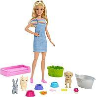 Игровой набор Barbie Блондинка с питомцами, меняющими цвет