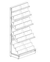 Пристенный металлический журнальный торговый стеллаж (1023х580х2250 мм) арт. СЖ-50