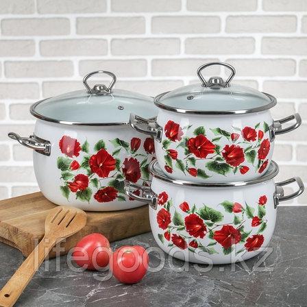"""Набор эмалированной посуды из 3-х кастрюль, (2,5 л,3,5 л, 5 л) i1600 """"Каркаде"""" I1600карк, фото 2"""