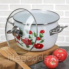 """Набор эмалированной посуды из 3-х кастрюль, (2,5 л,3,5 л, 5 л) i1600 """"Каркаде"""" I1600карк, фото 3"""