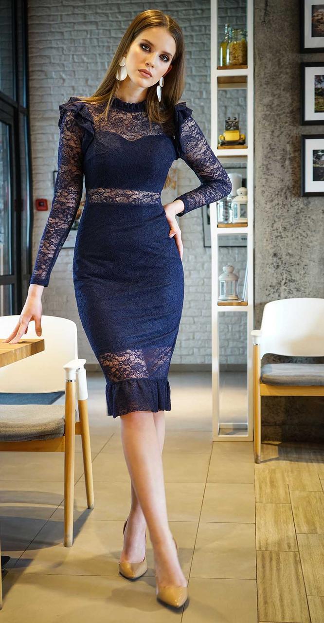 Платье Alani-1037, темно-синий, 44