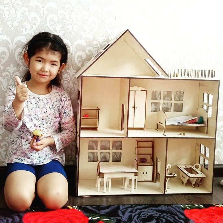 Кукольный эко домик (в комплекте 6 предметов мебели)