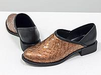 Элегантные женские туфли из натуральной кожи бронзового цвета