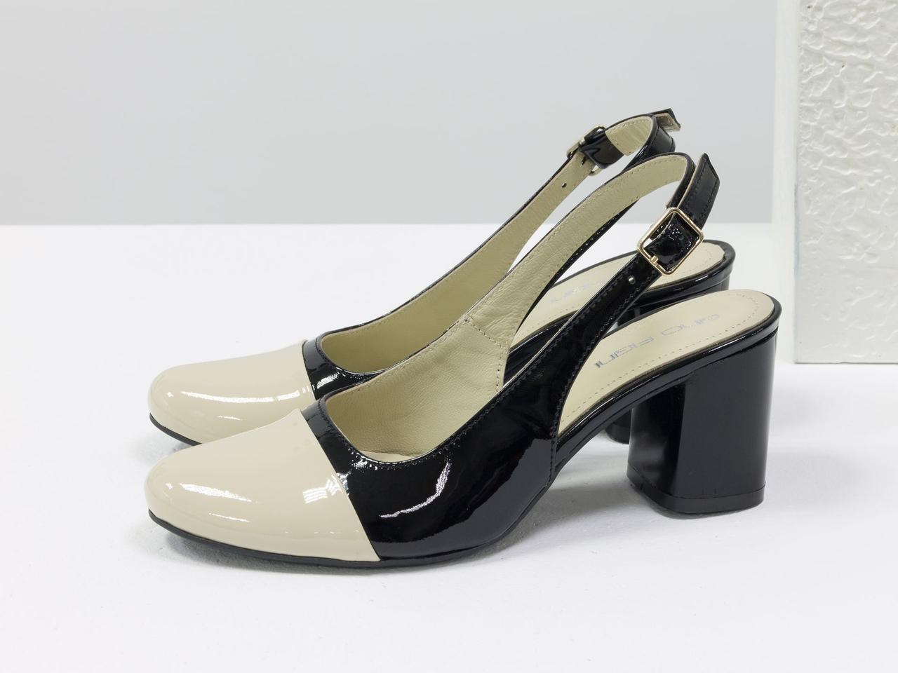 Женские туфли с открытой пяткой из натуральной итальянской лаковой кожи - фото 2