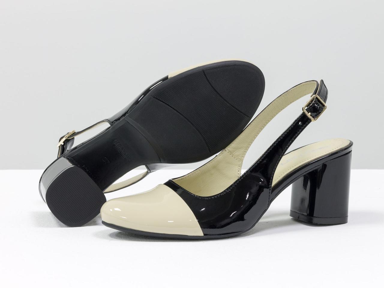 Женские туфли с открытой пяткой из натуральной итальянской лаковой кожи - фото 1