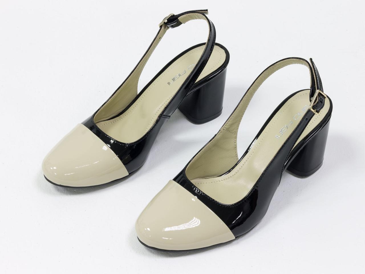 Женские туфли с открытой пяткой из натуральной итальянской лаковой кожи - фото 3