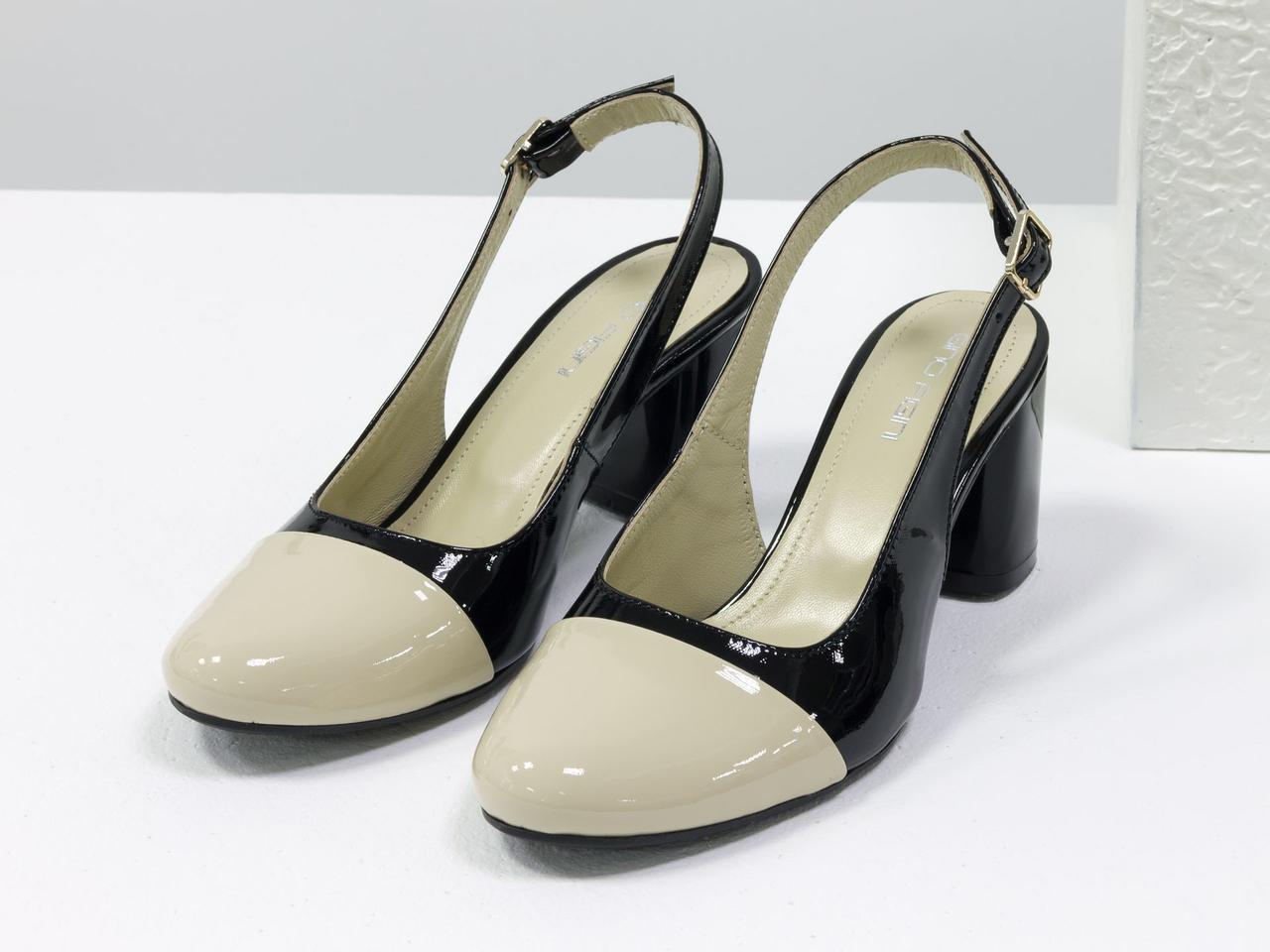 Женские туфли с открытой пяткой из натуральной итальянской лаковой кожи - фото 4