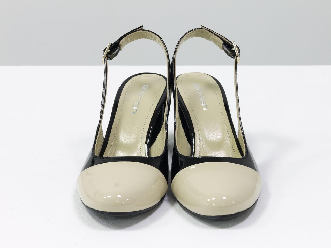 Женские туфли с открытой пяткой из натуральной итальянской лаковой кожи - фото 5