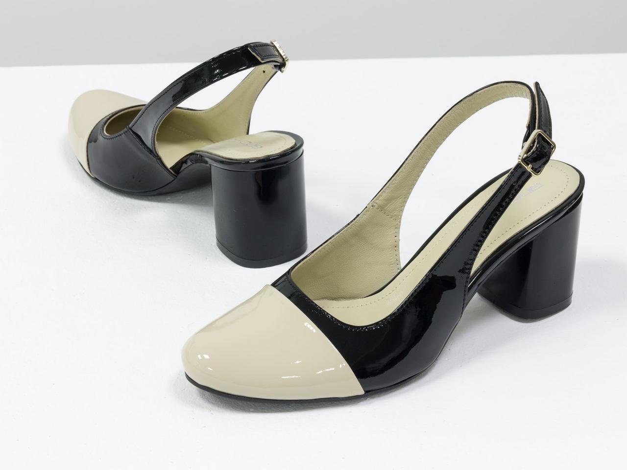 Женские туфли с открытой пяткой из натуральной итальянской лаковой кожи - фото 6
