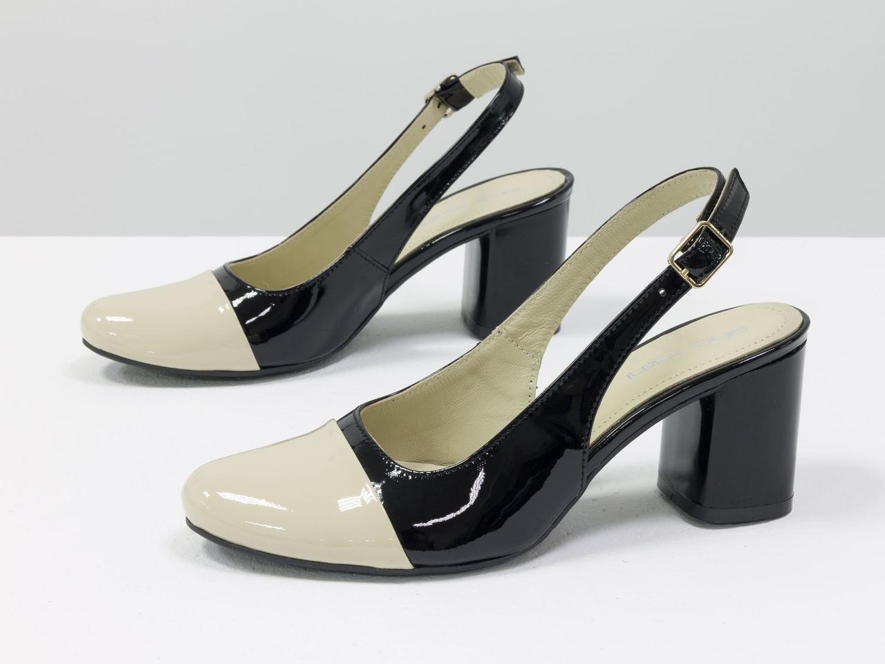 Женские туфли с открытой пяткой из натуральной итальянской лаковой кожи - фото 7