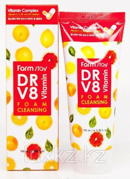 Витаминная очищающая пенка FarmStay DR-V8 Vitamin Foam Cleansing