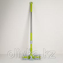 Окномойка с телескопической стальной ручкой и сгоном, 31×8×98(140) см, микрофибра, цвет МИКС