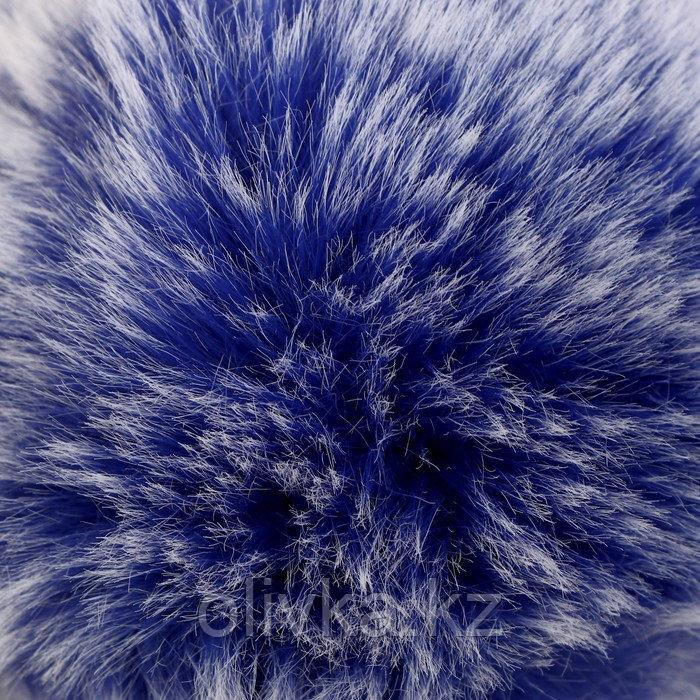 """Помпон искусственный мех """"Синий с белыми кончиками"""" d=9 см - фото 2"""