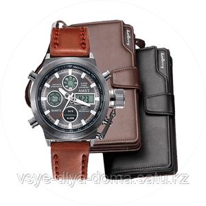 Комплект Армейские наручные часы Amst + Портмоне Baellerry Business