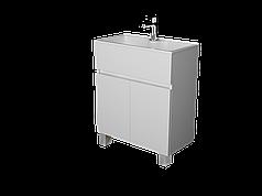 Тумба с раковиной Mira 60 см 2Д.. напольная (2 дверки). Белый глянец
