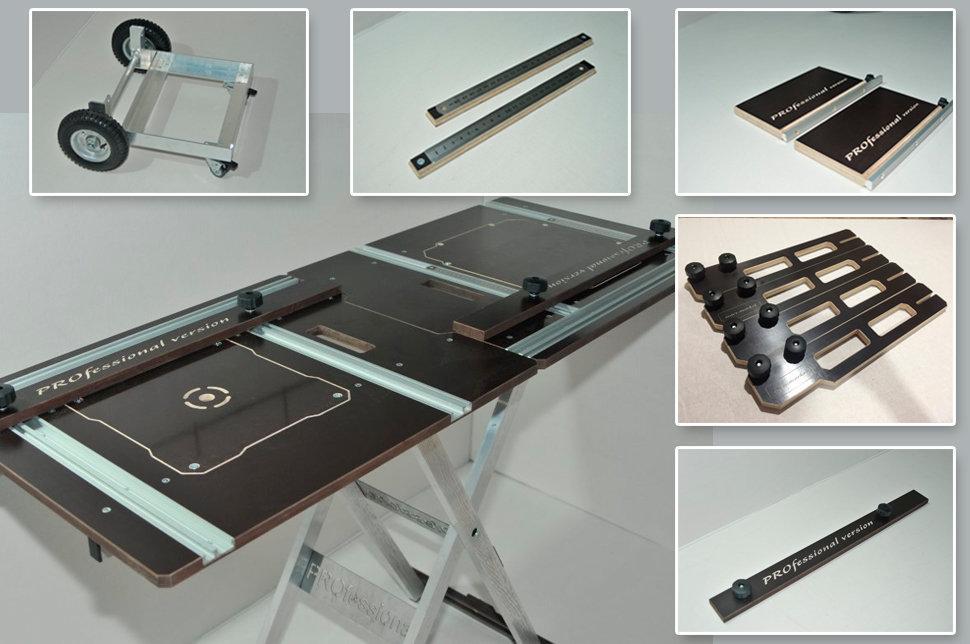 Полный комплект телега-верстак PRO-2,1 550 мм с 2-мя продольными Т-треками